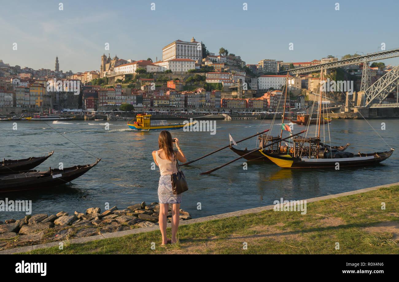 Douro river in Porto, Portugal. - Stock Image