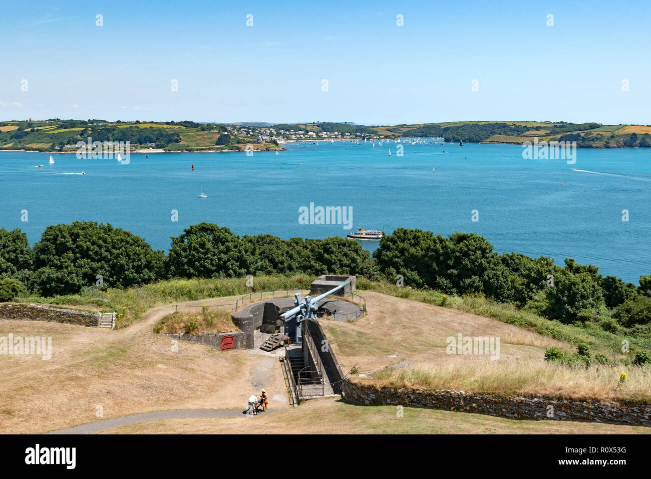 view to st.mawes, carrick roads, falmouth bay from pendennis castle, falmouth, cornwall, england, uk. - Stock Image