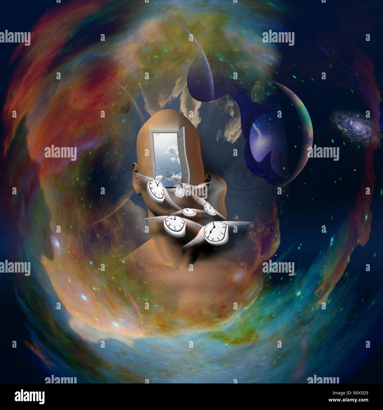 Man's head with open door to another world. Deep space background. Winged clocks represents flow of time - Stock Image