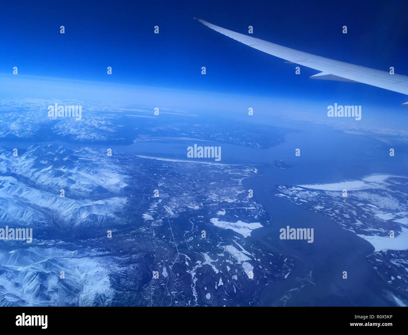 View from Airplane over Anchorage, Alaska, USA - Stock Image