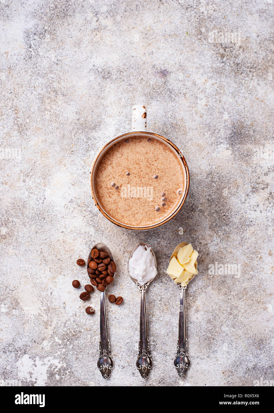 Bulletproof coffee. Ketogenic low carb drink Stock Photo