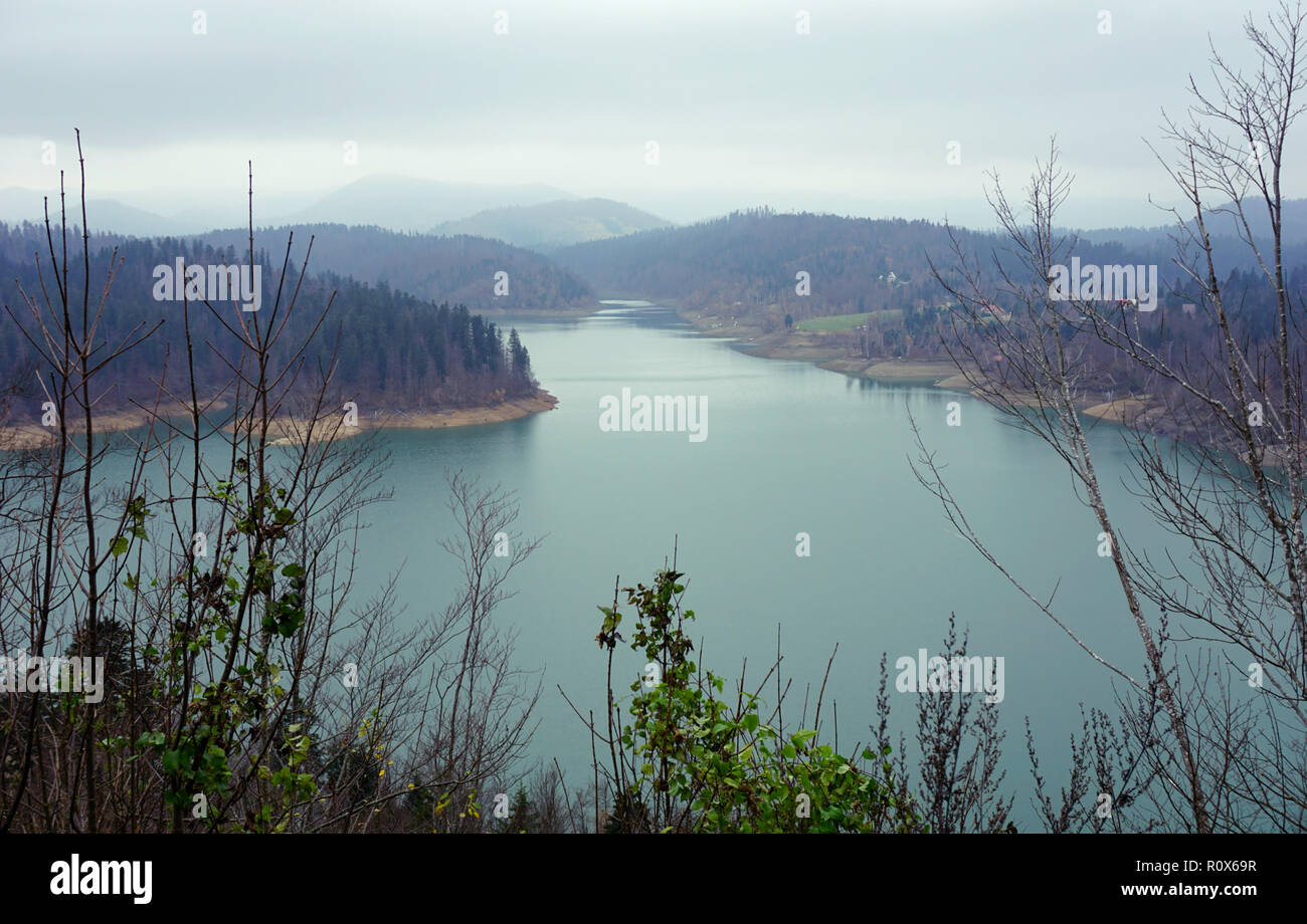Lake Lokve in Croatia on a cloudy autumn day, scenic view Stock Photo