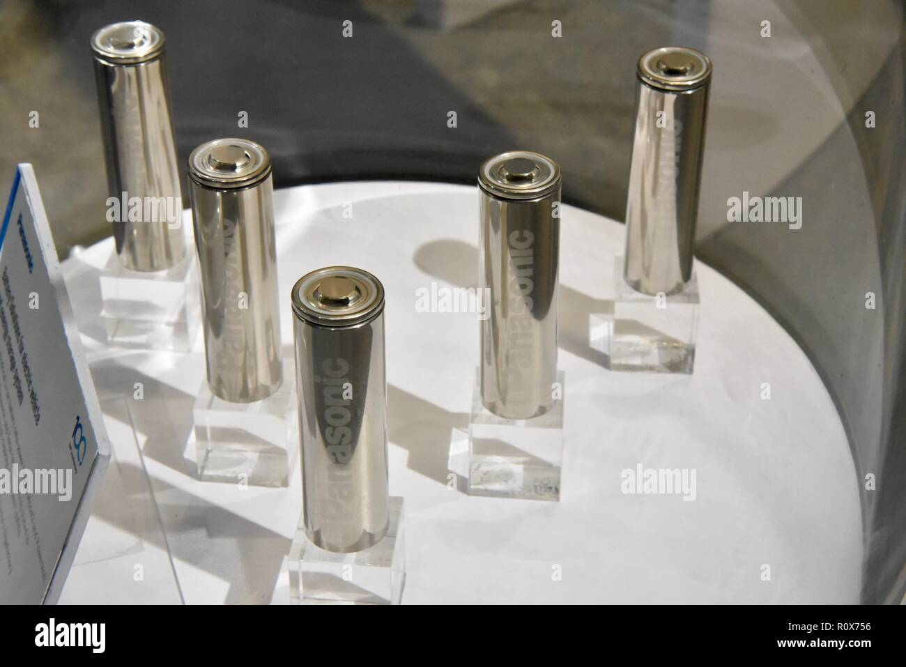Panasonic lithium ion cells for batteries used in Tesla vehicles, CES (Consumer Electronics Show), world's largest technology show, Las Vegas, USA. Stock Photo