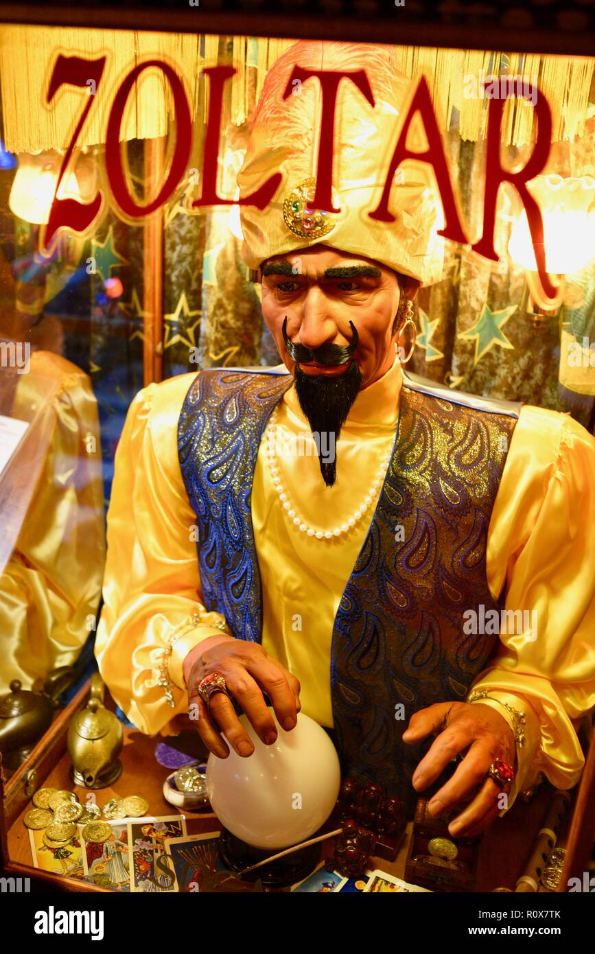 "Close-up of animatronic fortune-telling machine, after receiving payment, makes a prediction ""Zoltar Speaks"" from Zoltar, by Characters Unlimited. Stock Photo"
