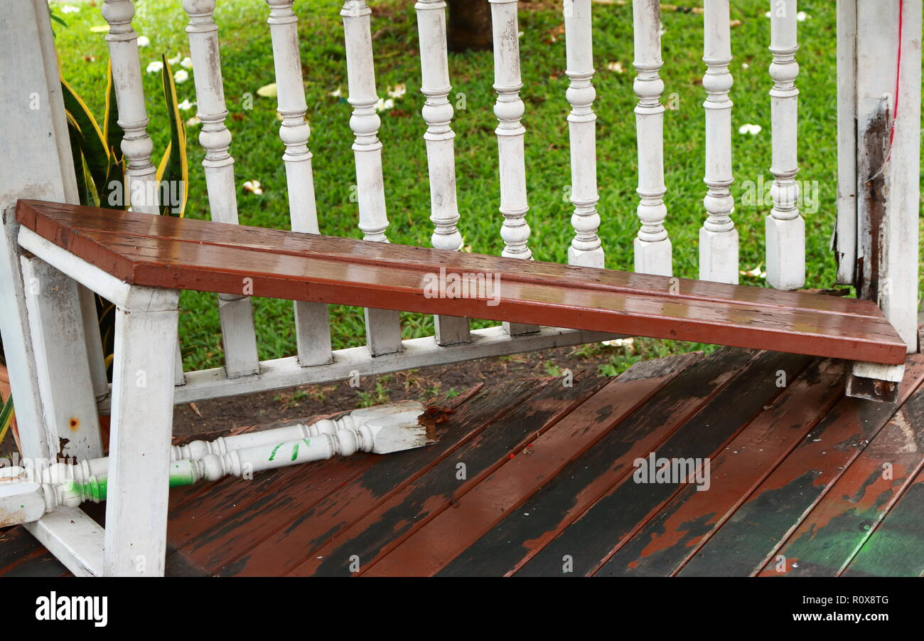 Picture Of Broken Bench Of A Pavilion In Garden