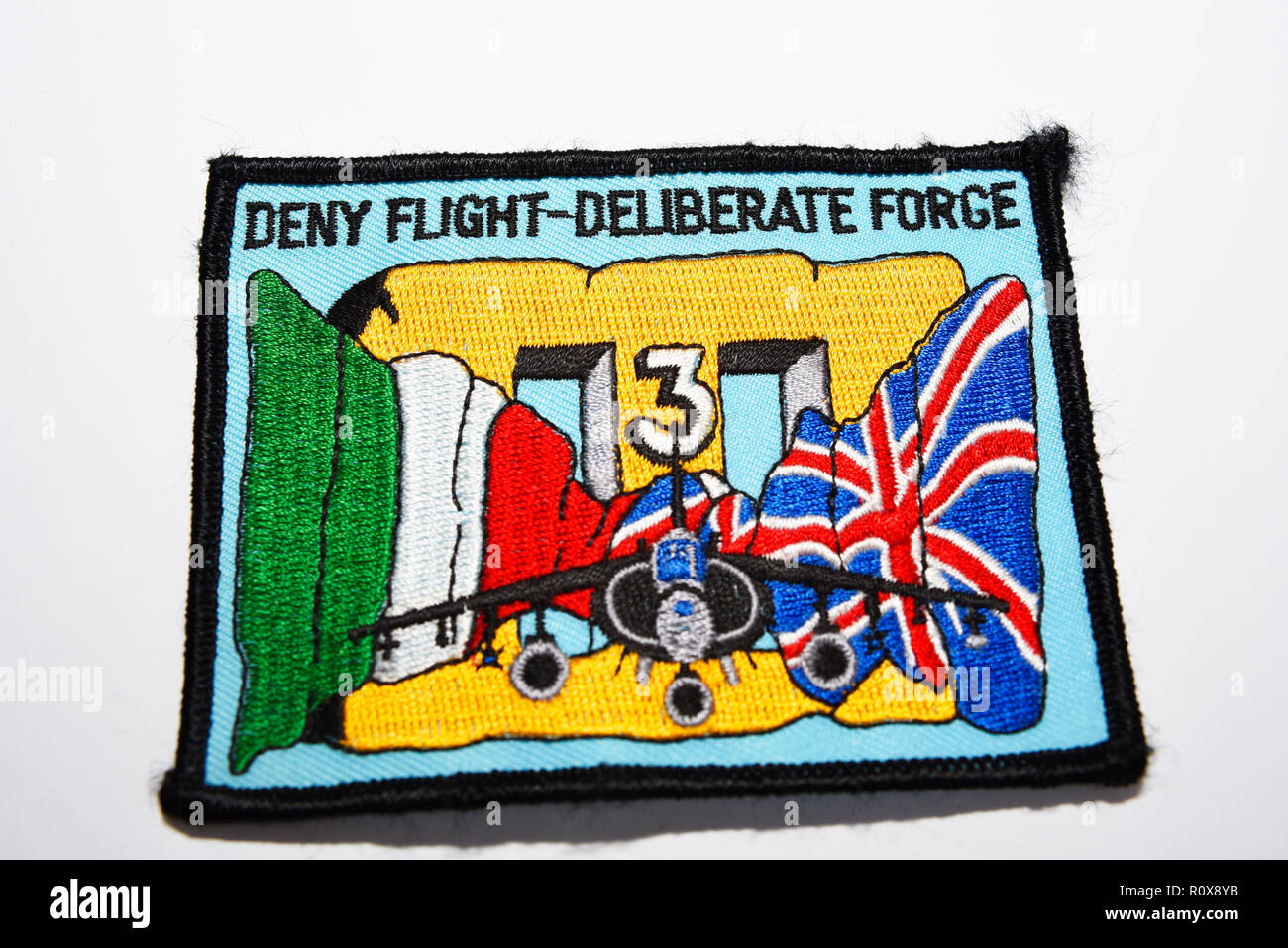 Operation Deny Flight Operation Deliberate Force aviation patch. Aircraft collectible item. RAF 3 Squadron Harrier. Isolated on white background - Stock Image