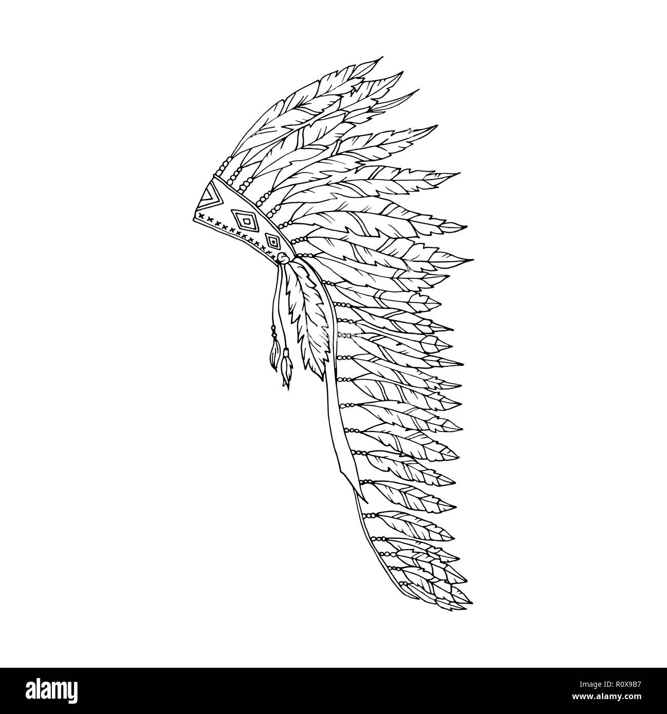 American Warbonnet Outline Drawing. Eagle Feather hat coloring page fashion accessory. Native Indian Headdress. Thanksgiving and Halloween Vector Costume Illustration. - Stock Image