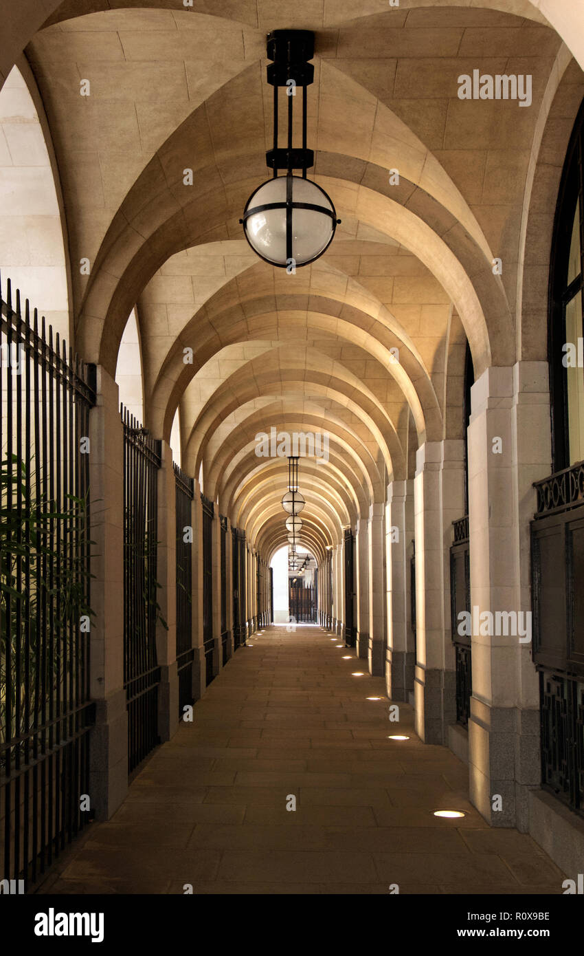 Passageway underneath the Adelphi Building, London - Stock Image