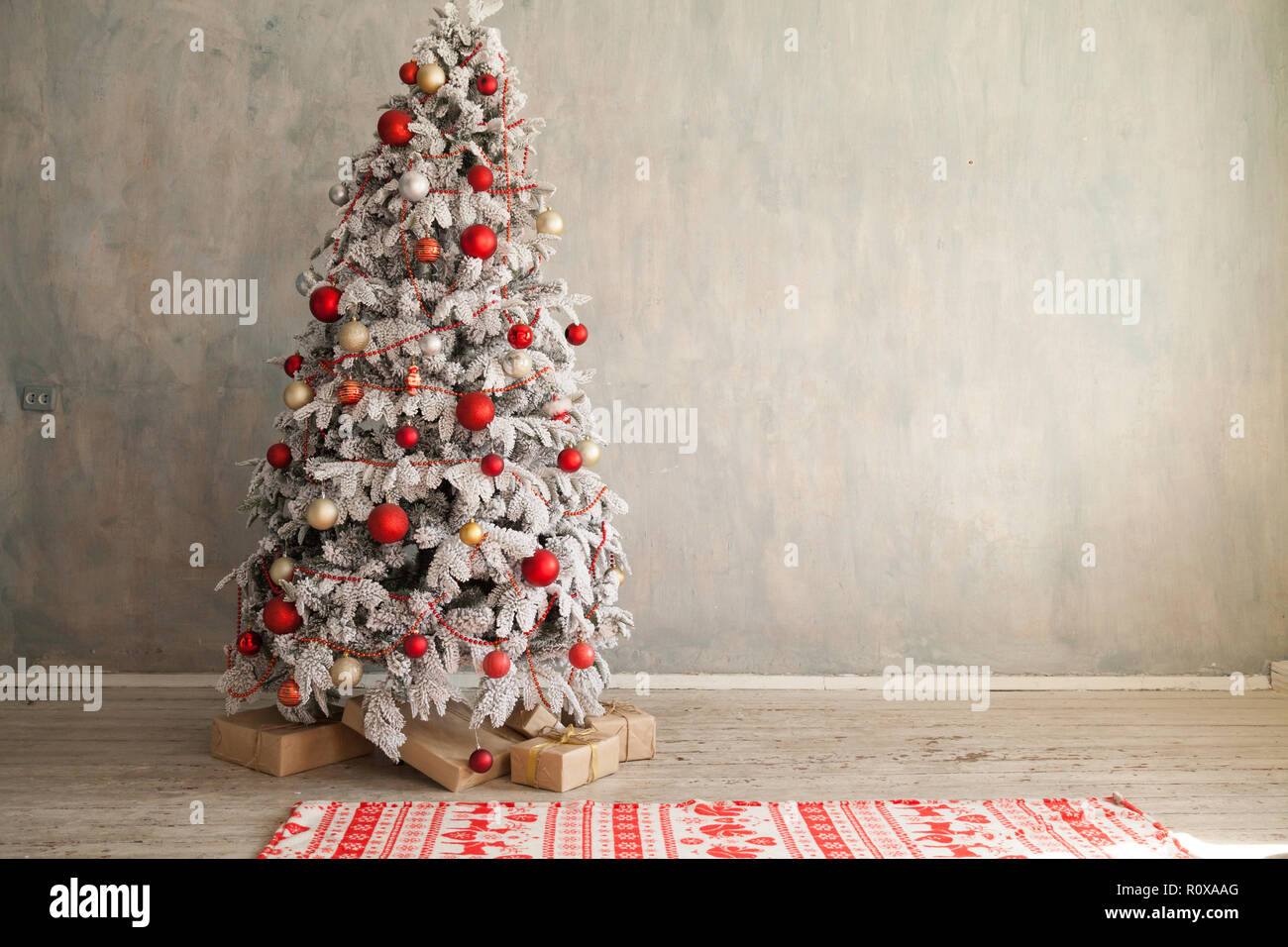 White Christmas Tree With Red Toys New Year Winter Gifts Decor Stock Photo Alamy