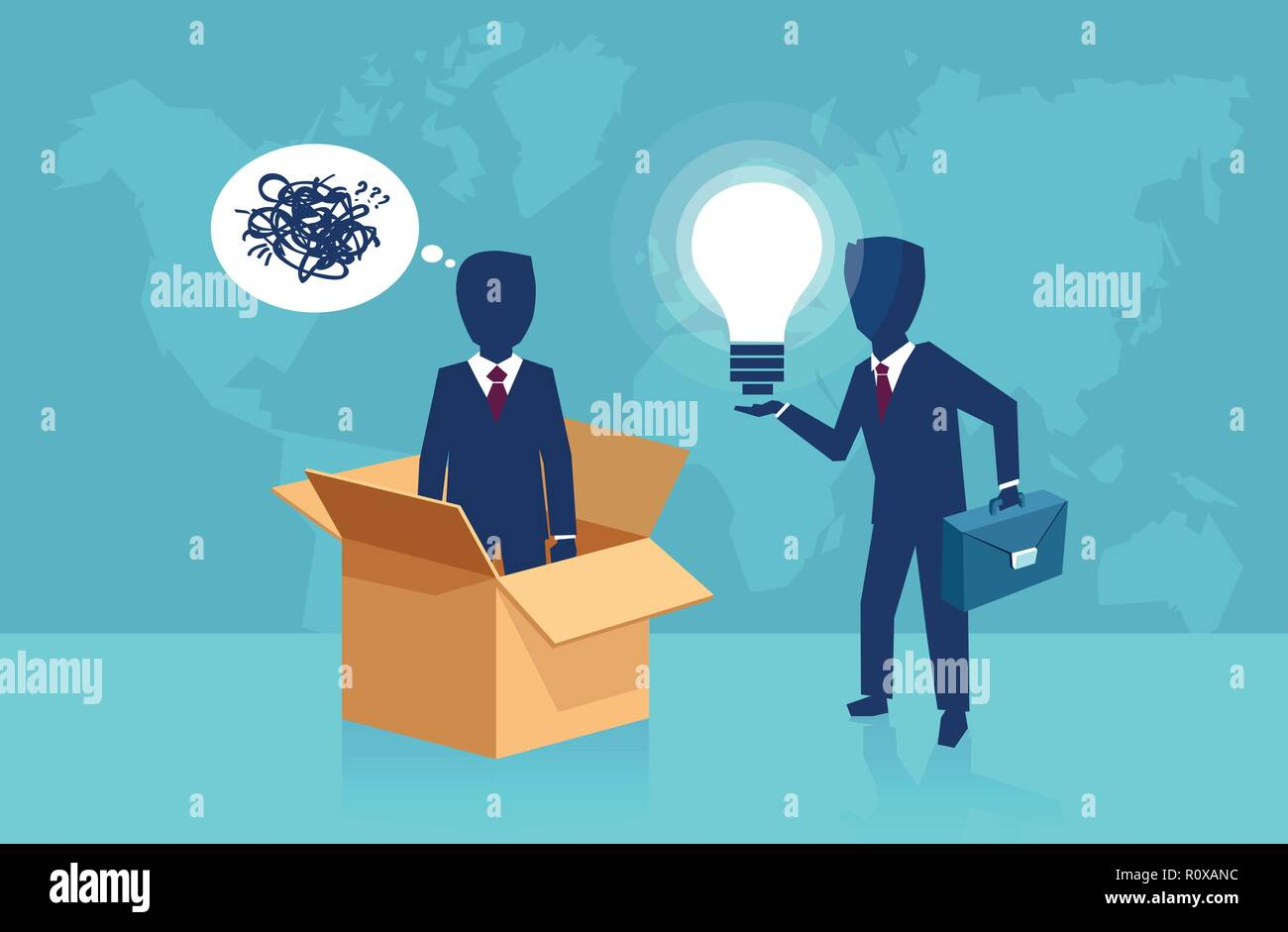 Vector concept for think outside the box idea - Stock Image