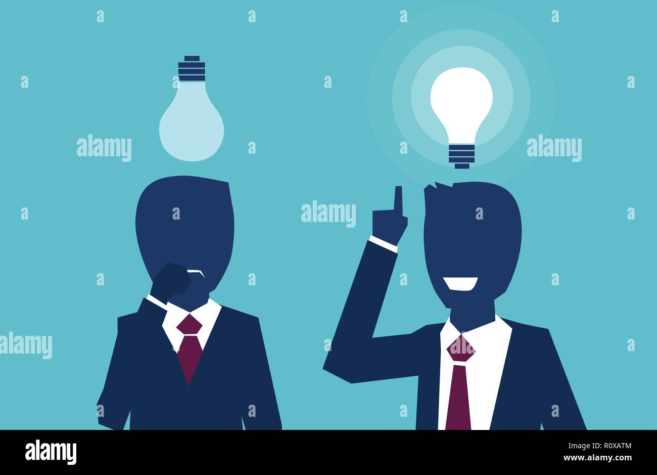 Vector of two businessmen thinking looking up at light bulbs one having a bright idea another feeling confused. Cognitive skills concept - Stock Image