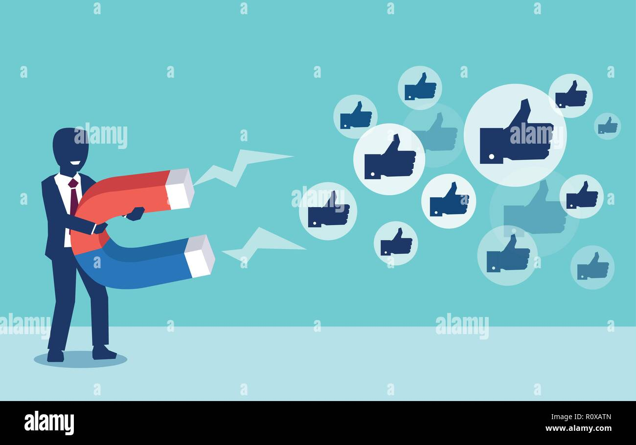 Social media marketing concept. Vector of a young businessman attracting likes with a huge magnet - Stock Image