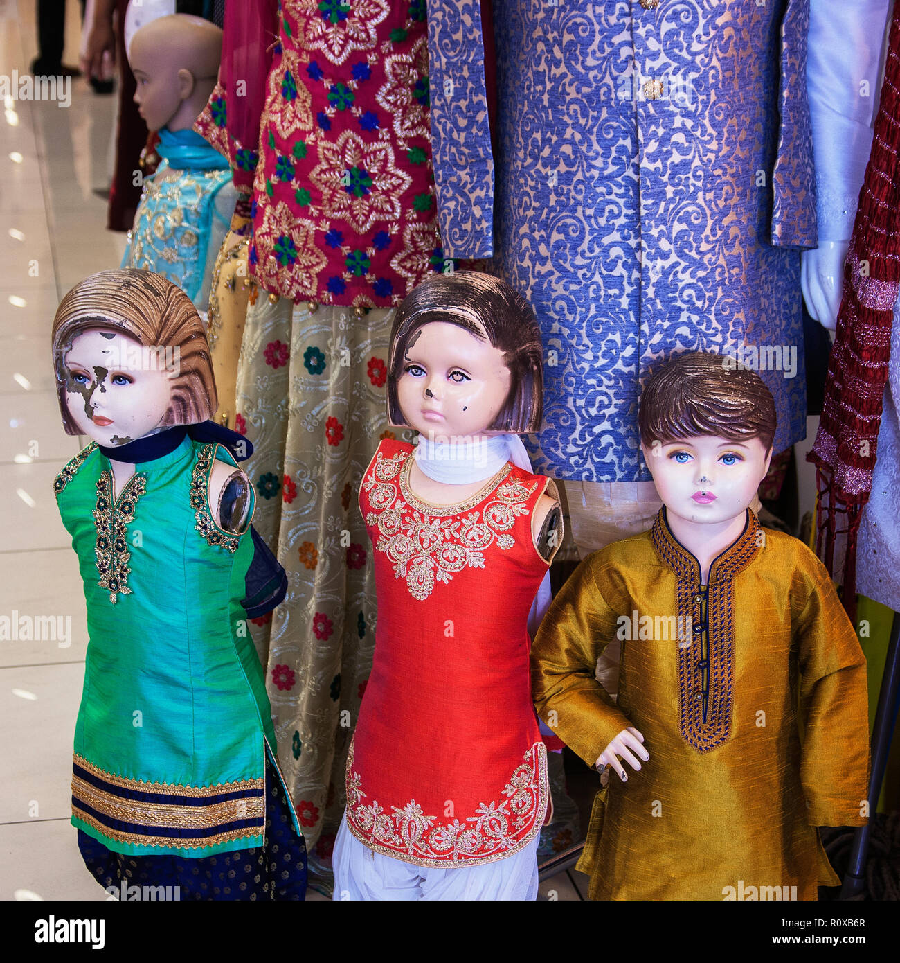 30068b0ad38 mannequin children in Indian clothing shop Southhall London UK - Stock Image