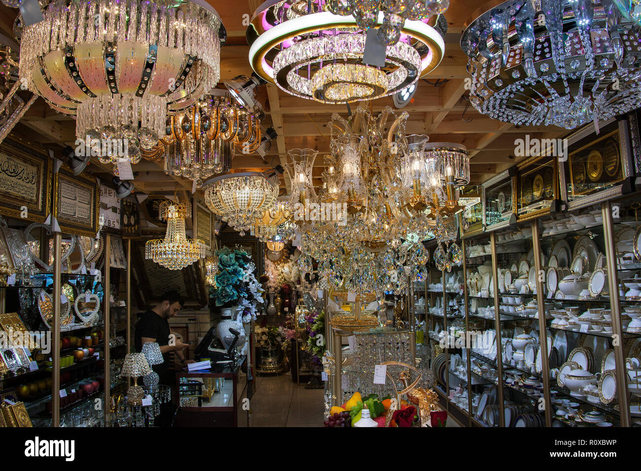 domestic crockery and lamp and decorative lighting shop, southall broadway - Stock Image