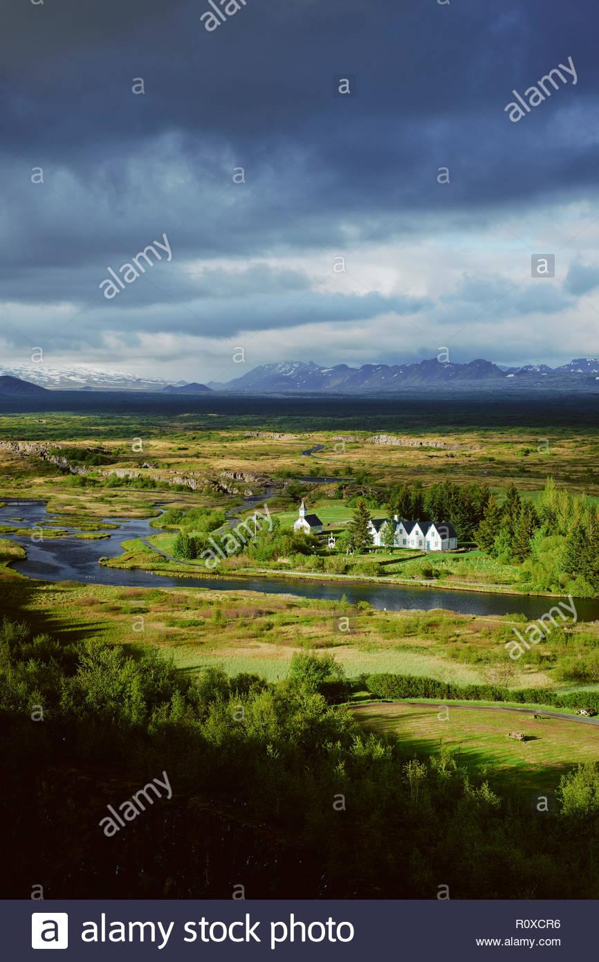 The UNESCO world heritage site of Pingvellir / Thingvellir National Park Iceland. An Althing historical parliament site set on the Mid Atlantic Ridge. Stock Photo