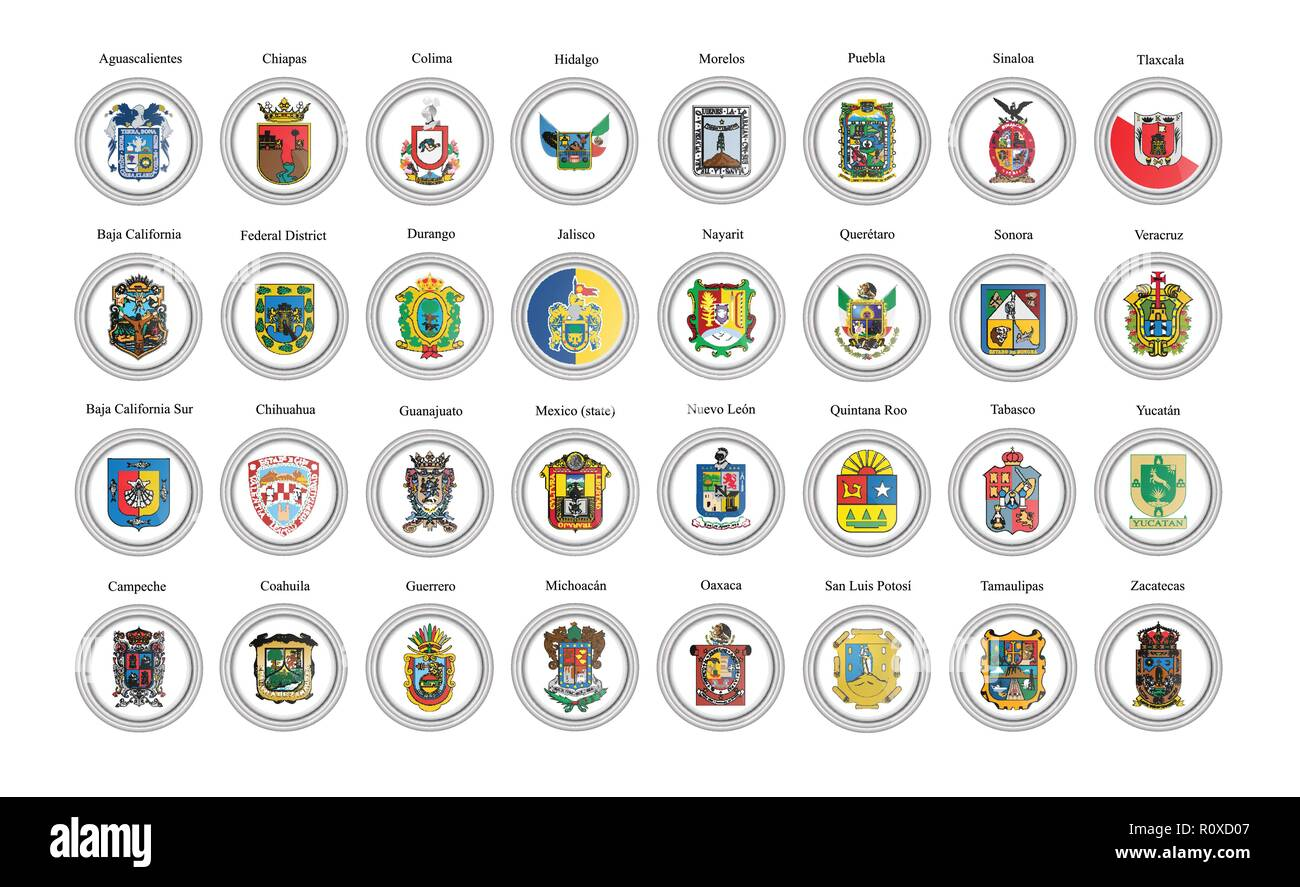 Set of vector icons. States of Mexico flags. 3D illustration. - Stock Image