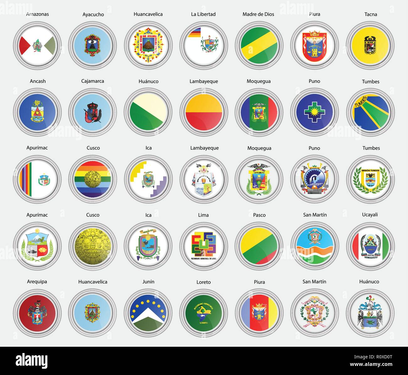 Set of vector icons. Regions of the Peru flags. 3D illustration. - Stock Vector