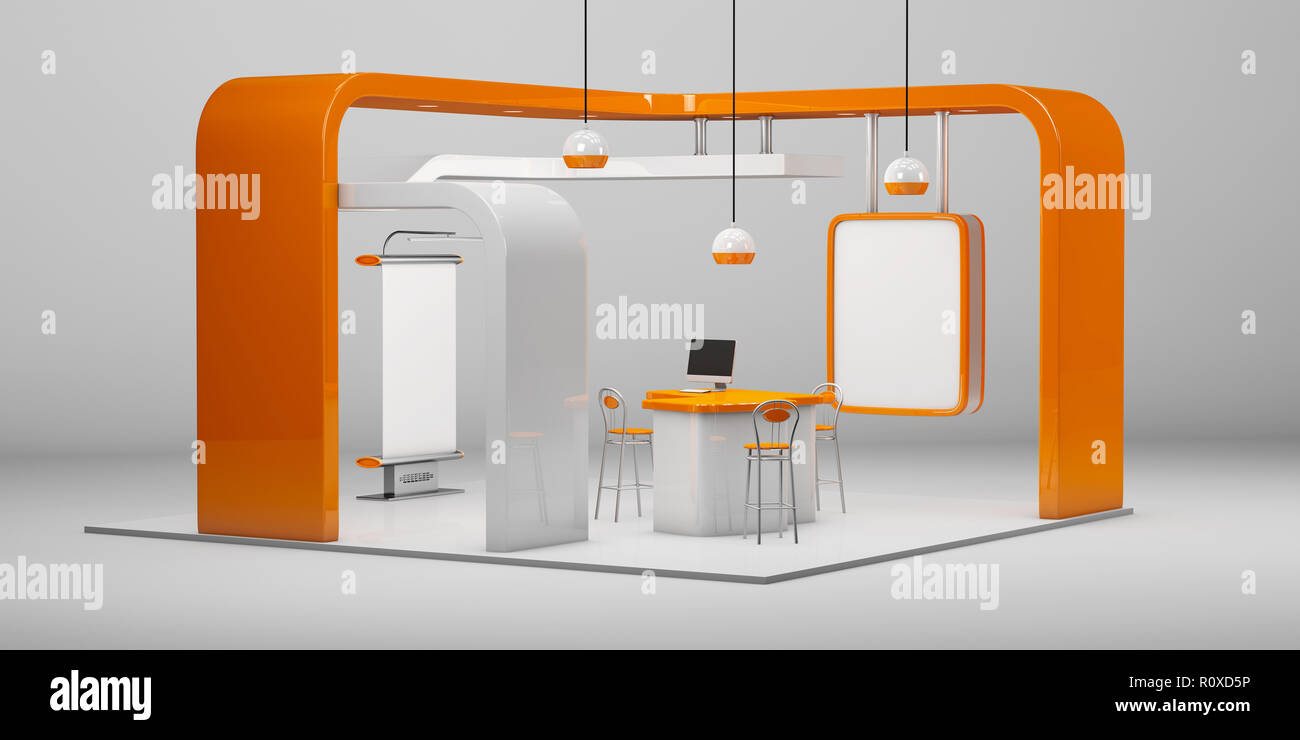 Creative Exhibition Stand Design : D illustrated unique creative exhibition stand display design