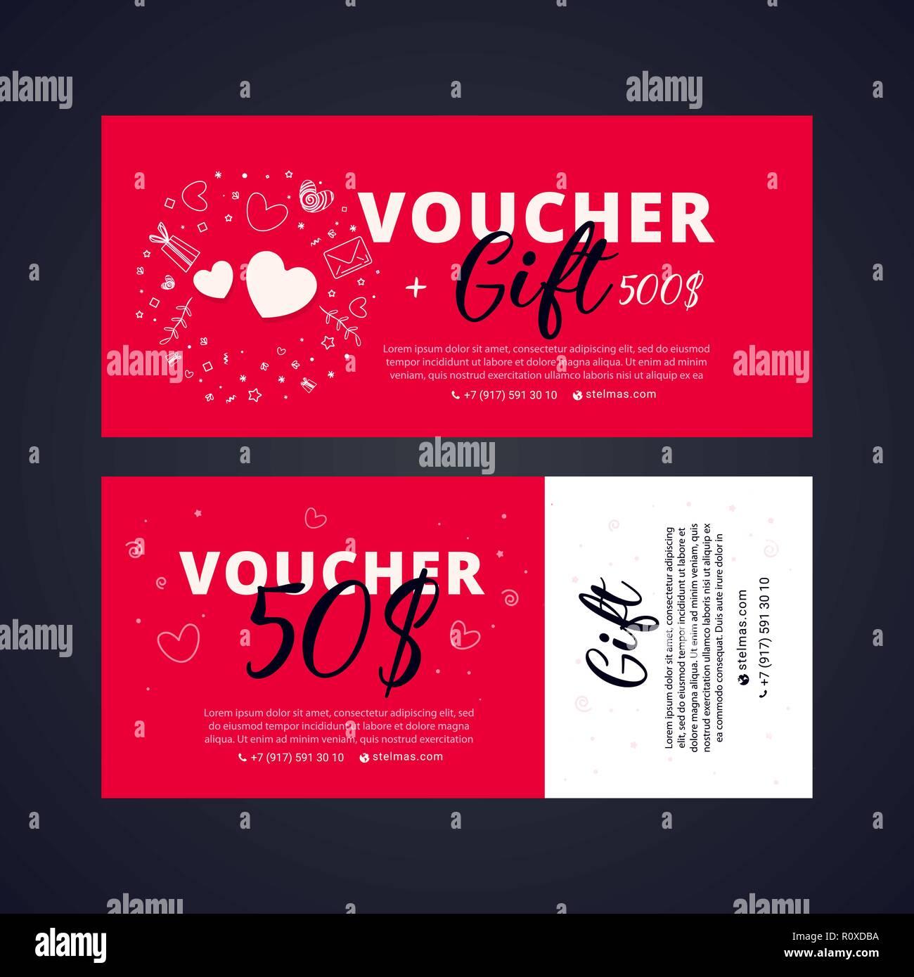 Valentine S Day Voucher Gift Voucher Template With Brigh Telement
