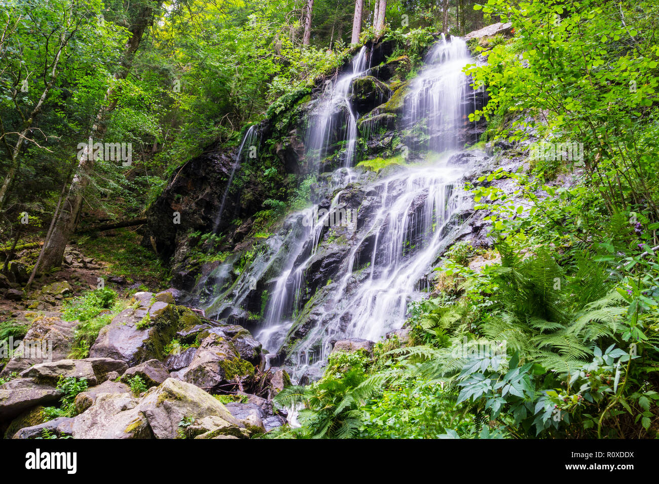 Germany, Holiday destination Zweribach waterfall in black forest region - Stock Image