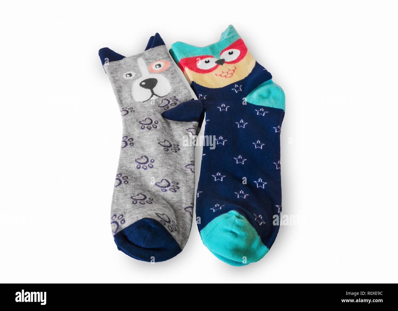 Funny socks on white background - Stock Image
