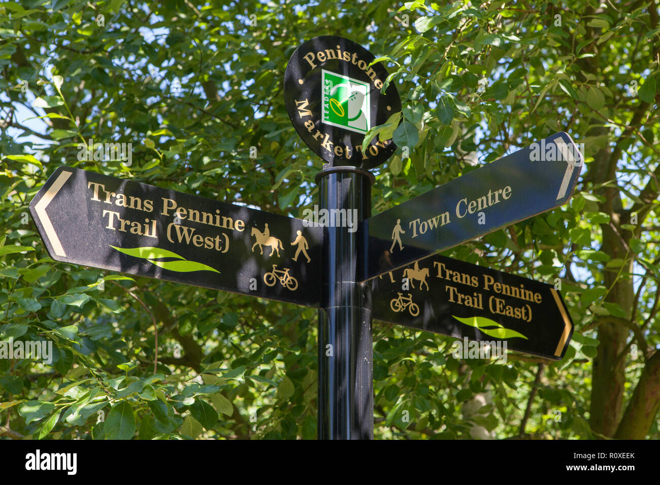 direction indicator sign for the Trans Pennine Trail (a long distance footpath and bridleway) in Penistone, South Yorkshire - Stock Image