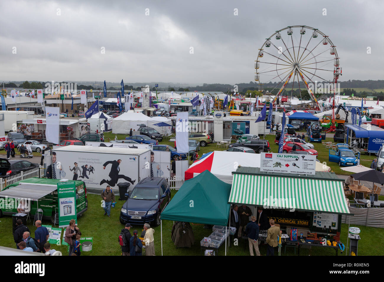 View of the Great Yorkshire Showground with trade stands and displays - Stock Image