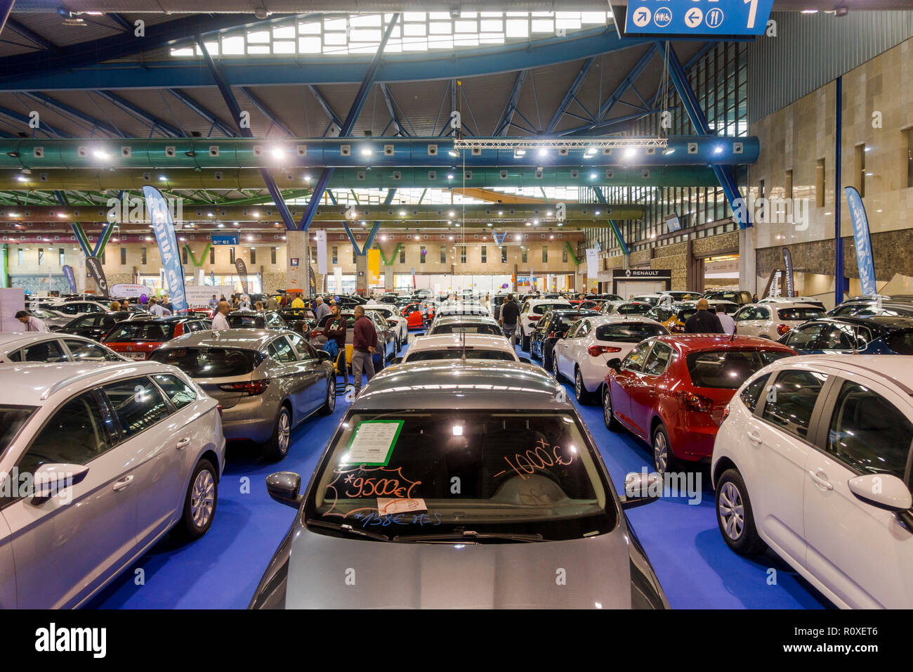 Second hand car show,cars on display, fair, cars for sale in Malaga, Spain. - Stock Image
