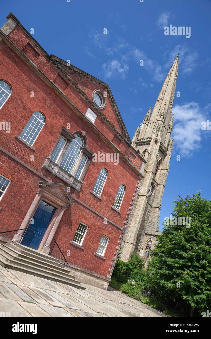 The red brick Sunday school of the Square Church in Halifax, now used as an Arts Centre - Stock Image
