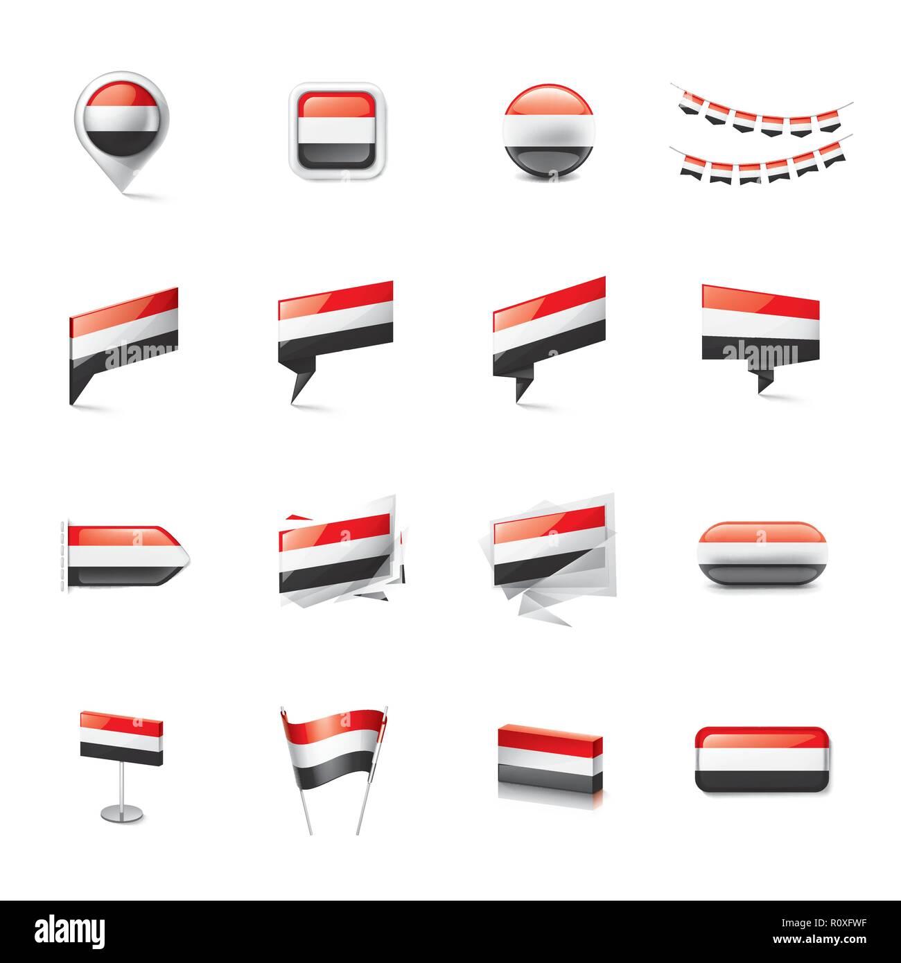 Yemeni flag, vector illustration on a white background. - Stock Image