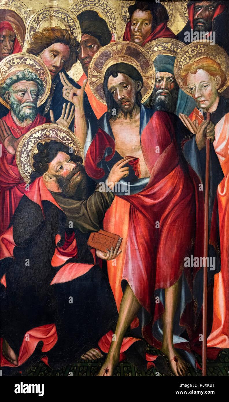 La Duda de Santo Tomas (Doubting Thomas), tempera on wood c.1400, Valencia Cathedral, Spain - Stock Image