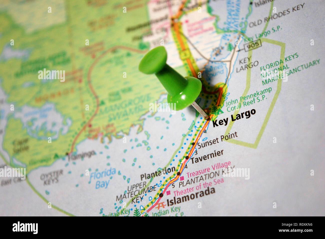 Key Largo Florida Map.A Map Of Key Largo Florida Marked With A Push Pin Stock Photo