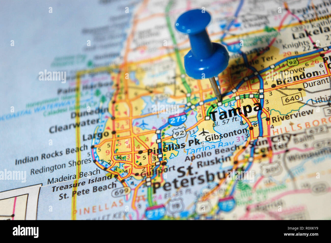 A map of Tampa, Florida marked with a push pin Stock Photo ...