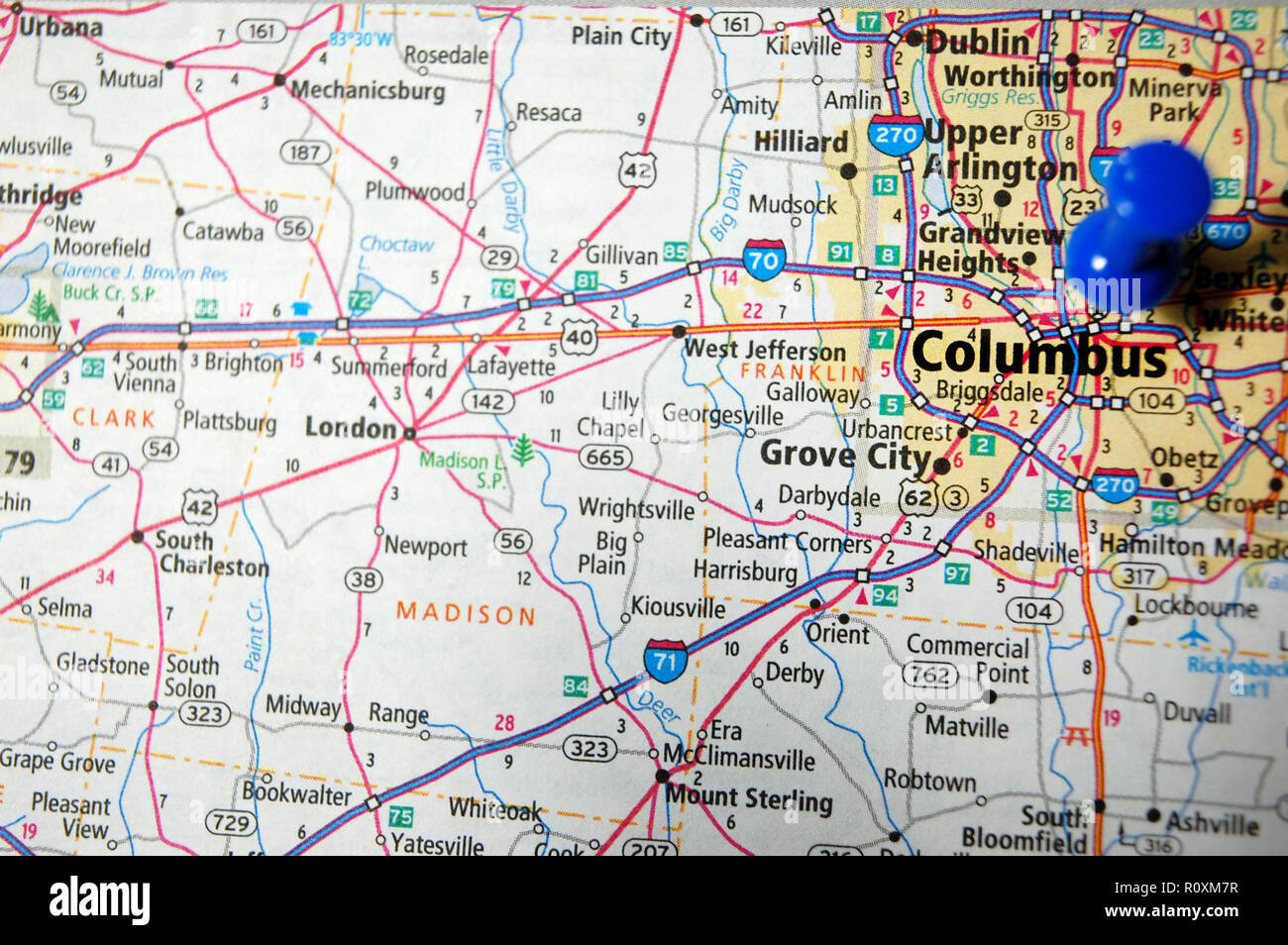 A map of Columbus, Ohio marked with a push pin Stock Photo ...
