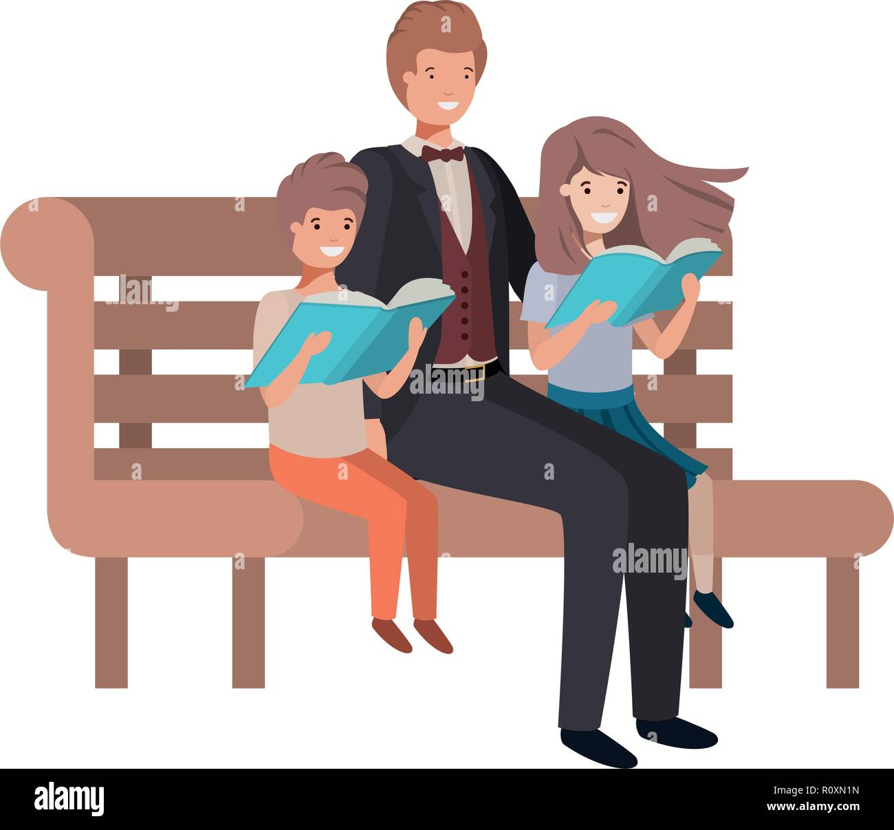 Pleasing Father And Children Sitting In Park Chair Avatar Character Gmtry Best Dining Table And Chair Ideas Images Gmtryco