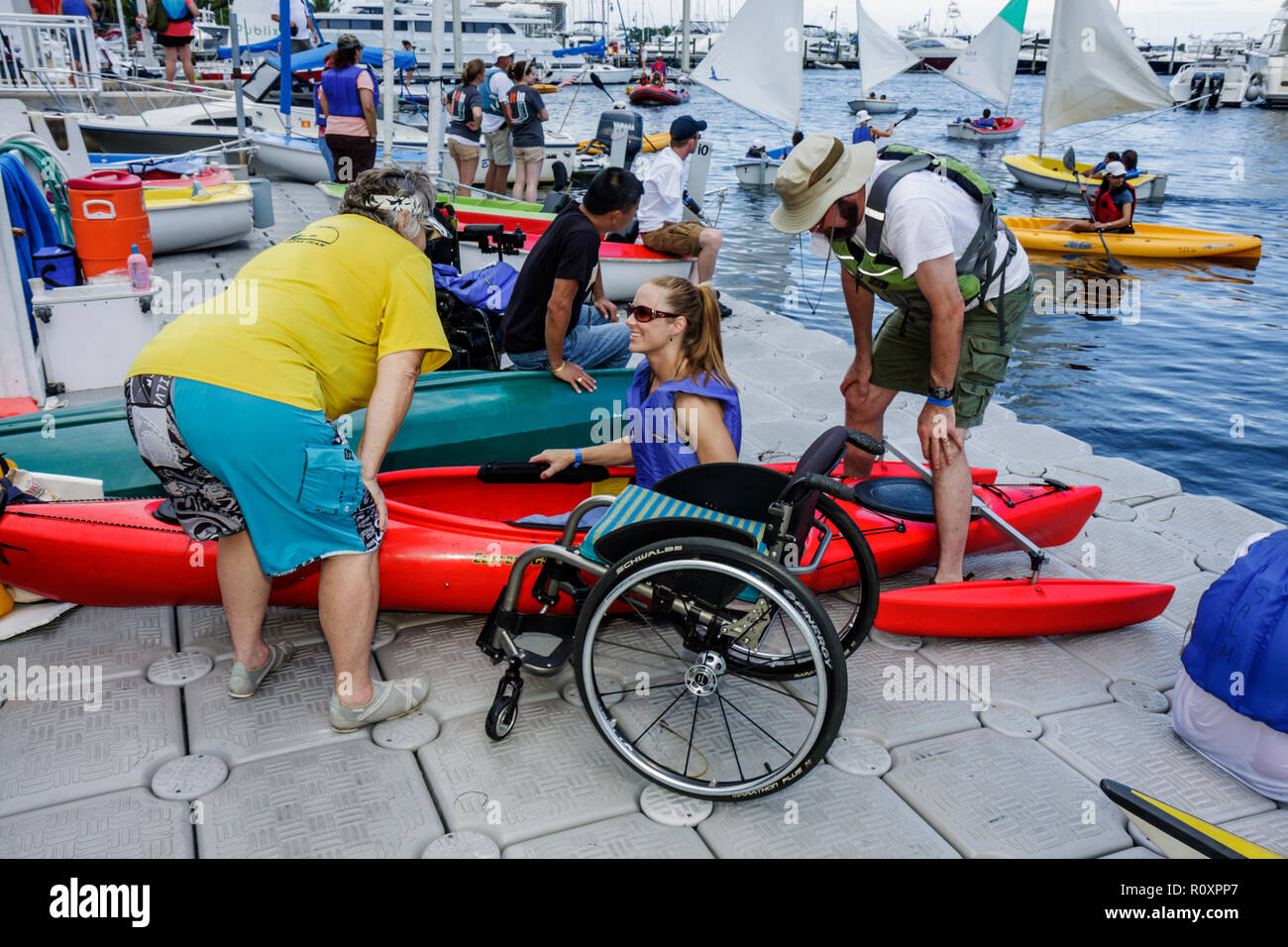 Miami Coconut Grove Florida Shake-a-Leg Miami No Barriers Festival disabled physical disability handicapped adaptive water sport - Stock Image