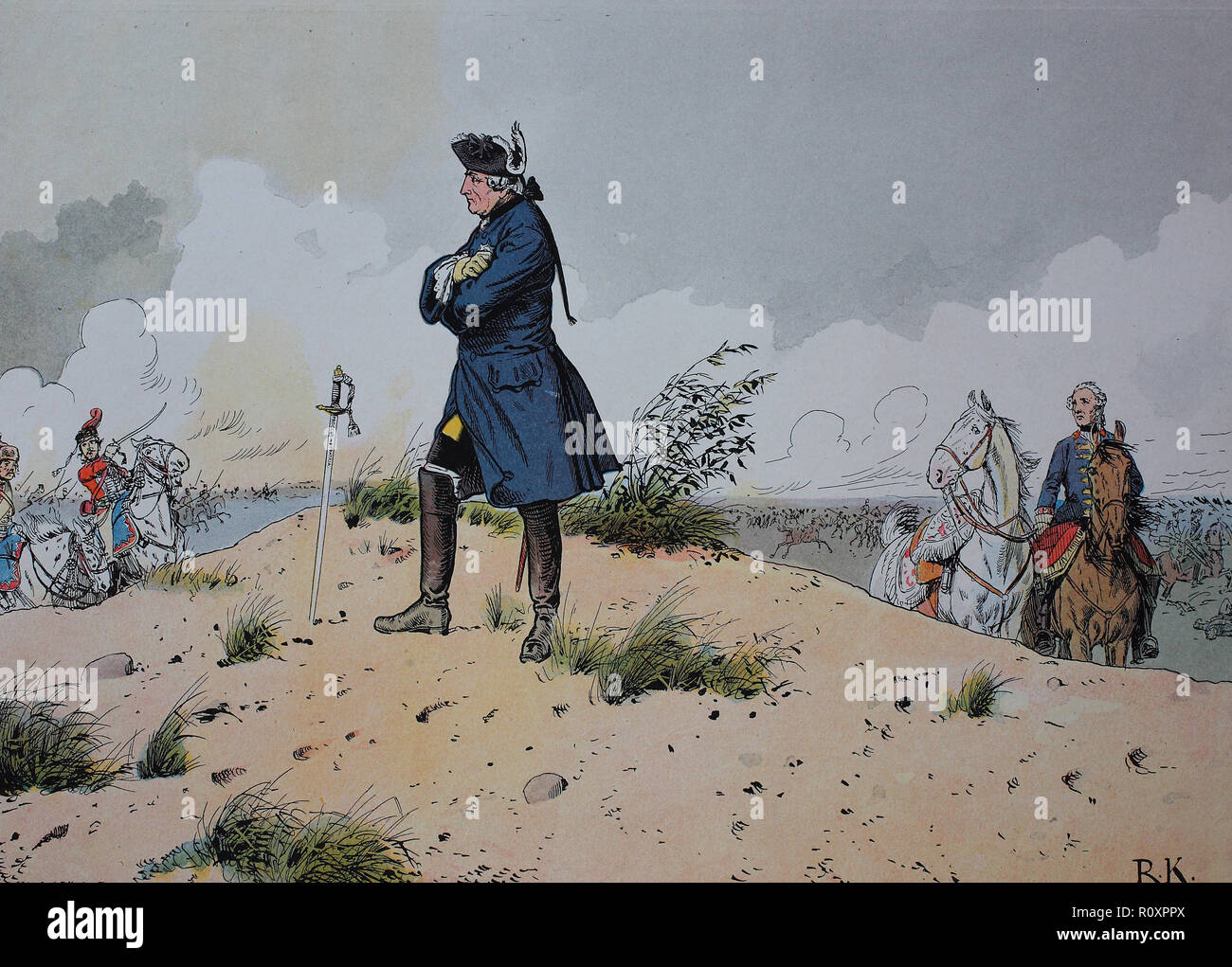 Digital improved reproduction, King Frederick the Great, Frederick II., Friedrich der Große, Friedrich II. 1712 - 1786, Seven Years' War, global conflict fought between 1756 and 1763, Battle of Kunersdorf occurred on 12 August 1759 - Stock Image