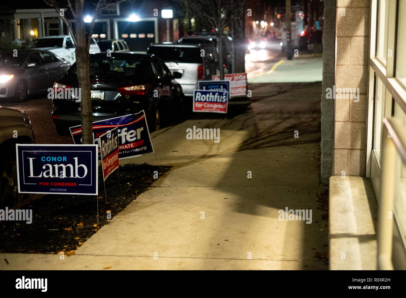 Yard signs for elections are seen during the midterm elections in Pittsburgh, PA in the aftermath of the Tree of Life shootings. - Stock Image