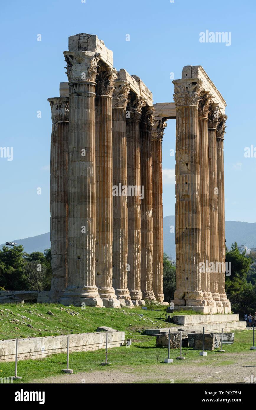 Athens. Greece. Corinthian columns of the Temple of Olympian Zeus (Olympieion). - Stock Image