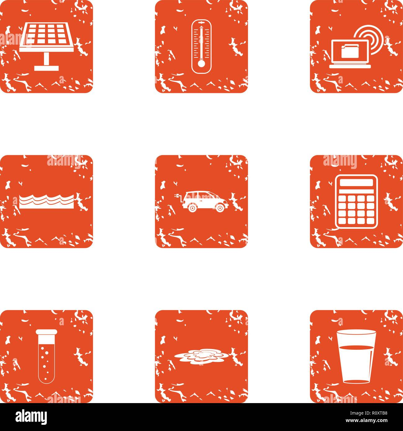 Survey of chemistry icons set, grunge style - Stock Vector