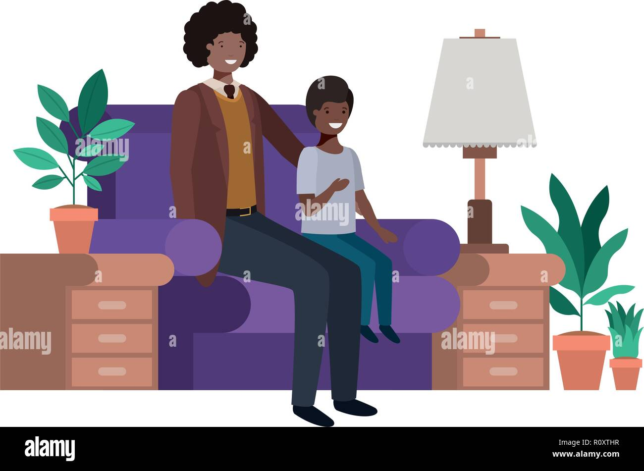 father and son sitting in couch avatar character - Stock Vector