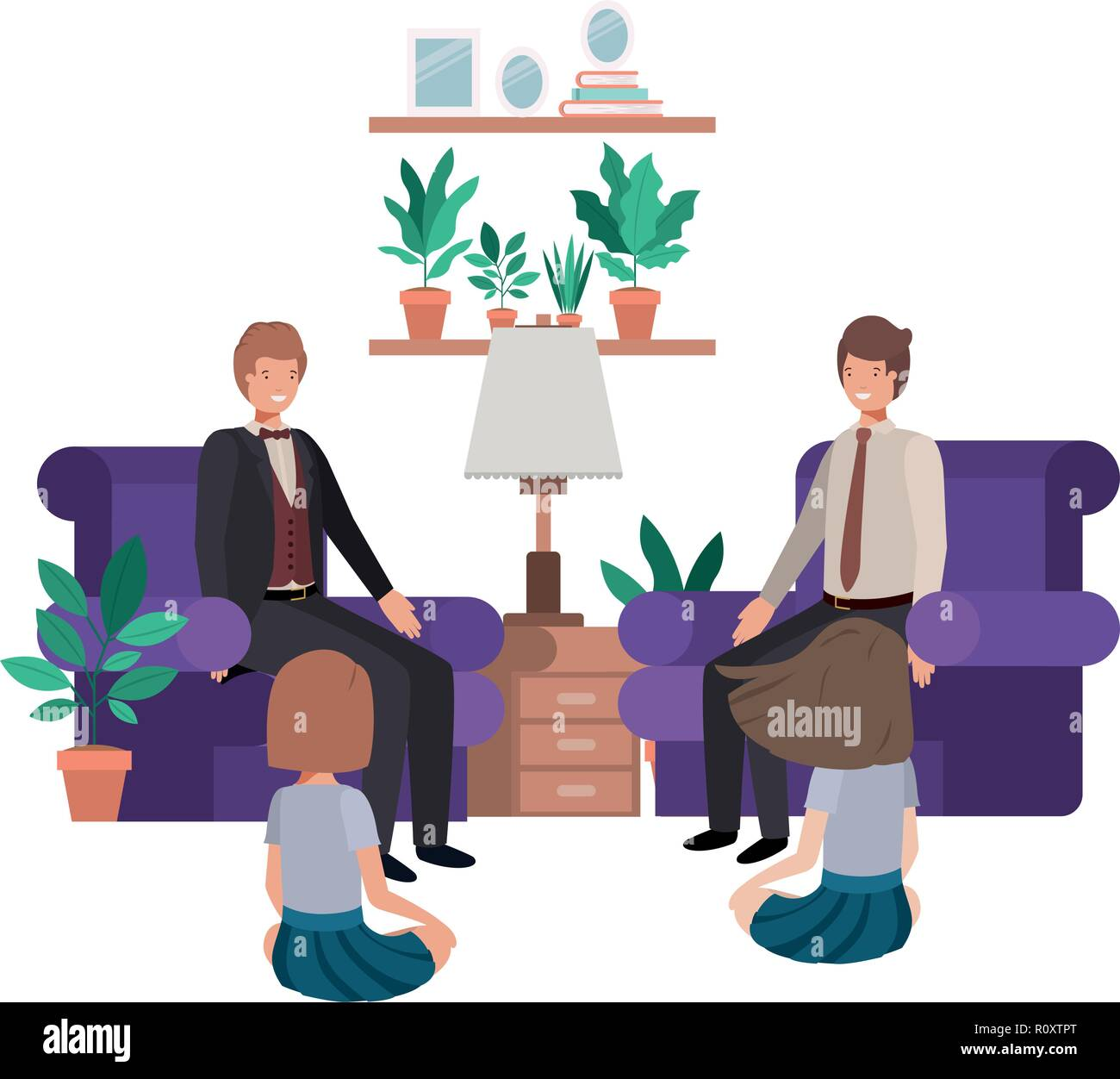 fathers and daughters sitting in couch avatar character - Stock Vector