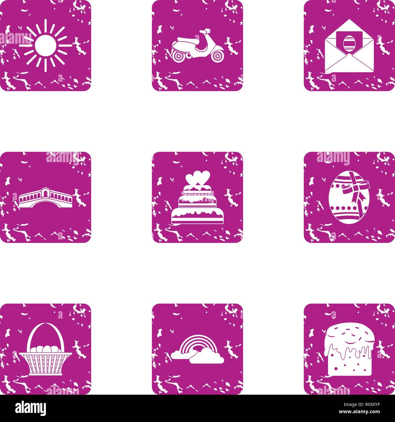 Mood for loveless icons set, grunge style - Stock Image
