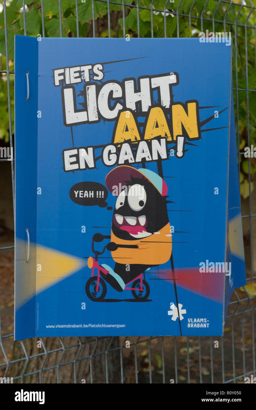 Bike light campaign organized by Vlaams-Brabant, Belgium. Fiets licht aan en gaan! - Stock Image