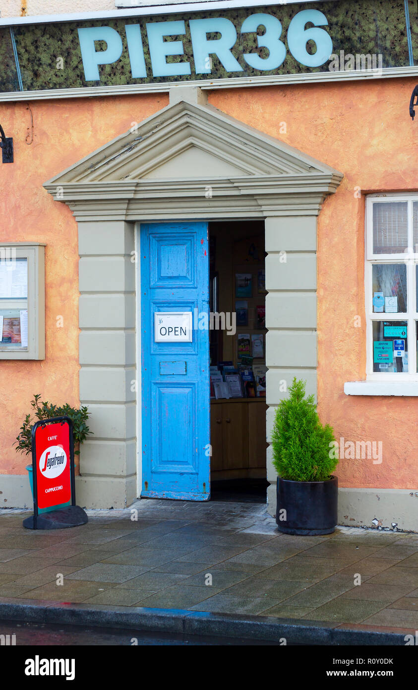 17 January 2018 The classic style narrow entrance to Pier 36 Restaurant in Donaghadee County Down northern Ireland has echoes of greek and roman archi - Stock Image