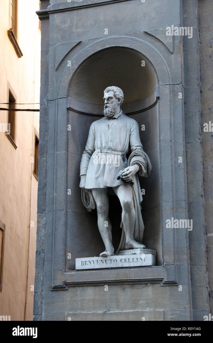 Statue of Benvenuto Cellini at the Uffizi Gallery in Florence Stock Photo
