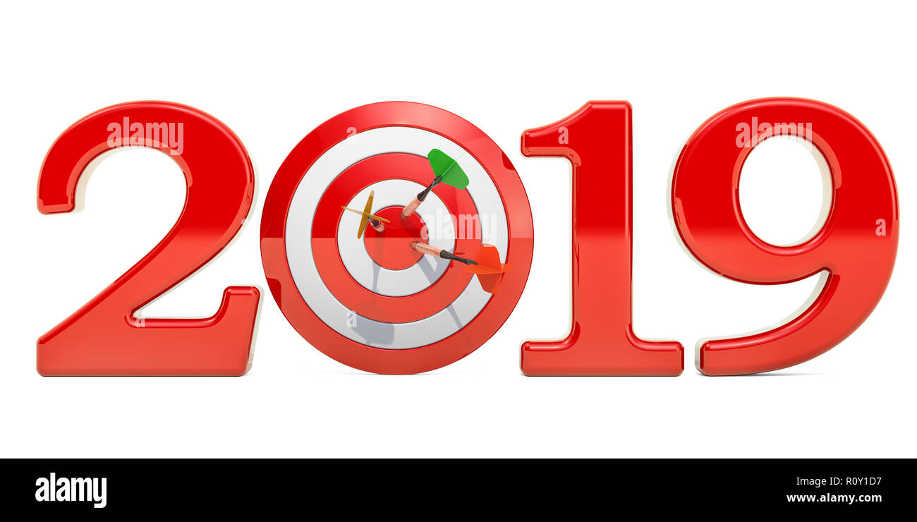 Target And Mission Of 2019 New Year Concept 3d Rendering