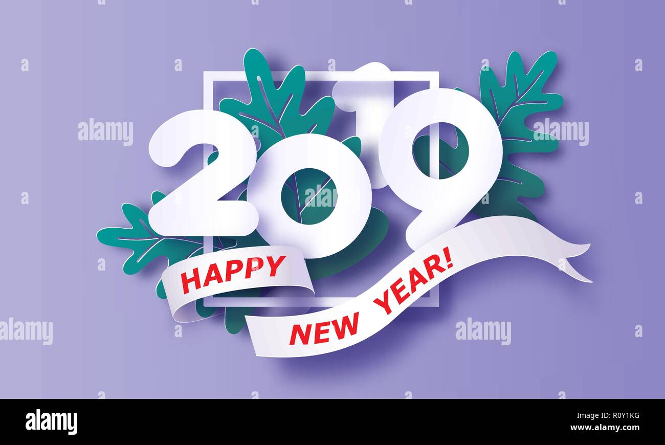 2019 new year design card on purple background vector illustration paper cut and craft style