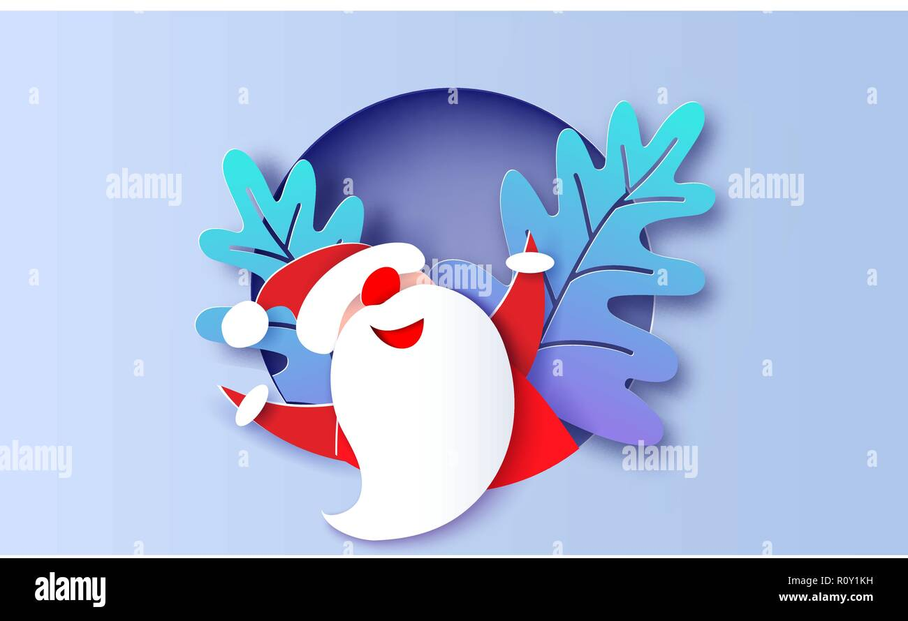 modern paper circle banner with santa claus merry christmas happy