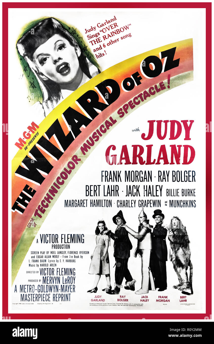 """WIZARD OF OZ, 1939.Vintage Movie Poster starring Judy Garland, Ray Bolger and Frank Morgan. Directed by Victor Fleming film classic launched the career of Judy Garland and brought memorable songs and scenes to children and adults throughout the world for two generations. As popular today as it was almost 70 years ago printed for the 1949 re-release of the movie. """"Judy Garland sings Over the Rainbow and 6 other song hits!"""" - Stock Image"""